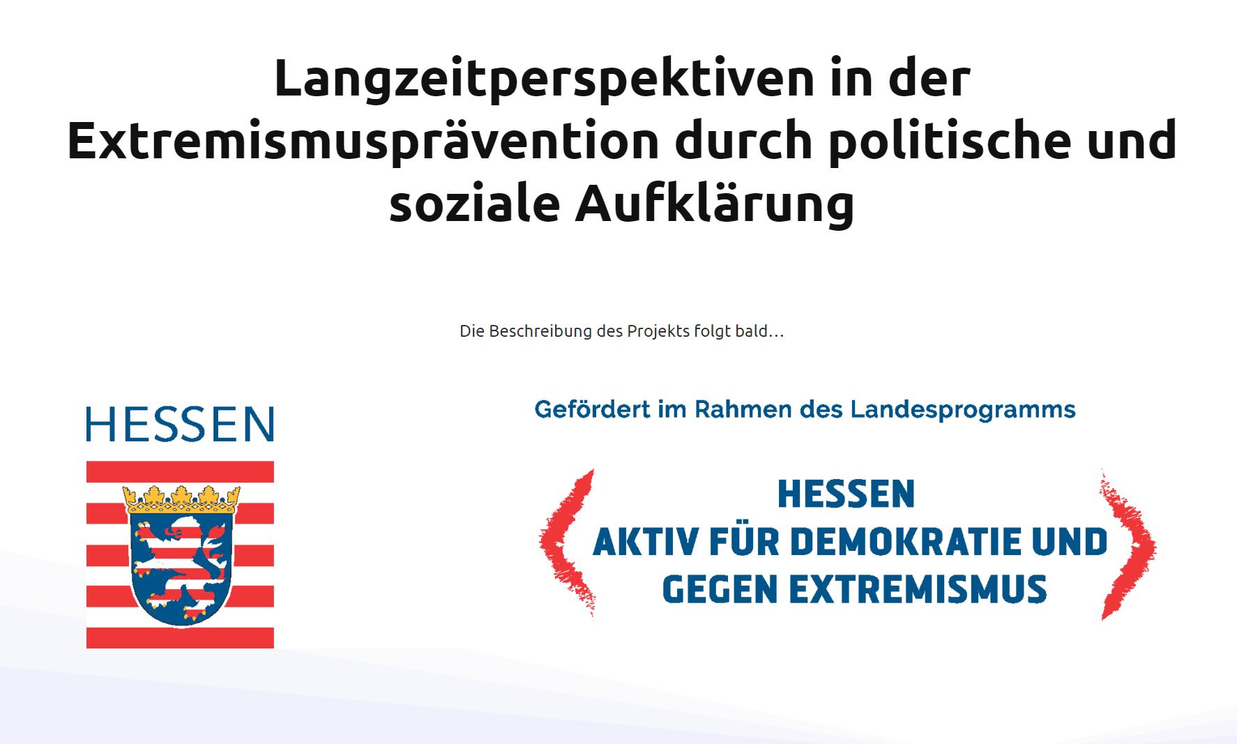 Projekt Langzeitperspektiven in der Extremismusprävention durch politische und soziale Aufklärung