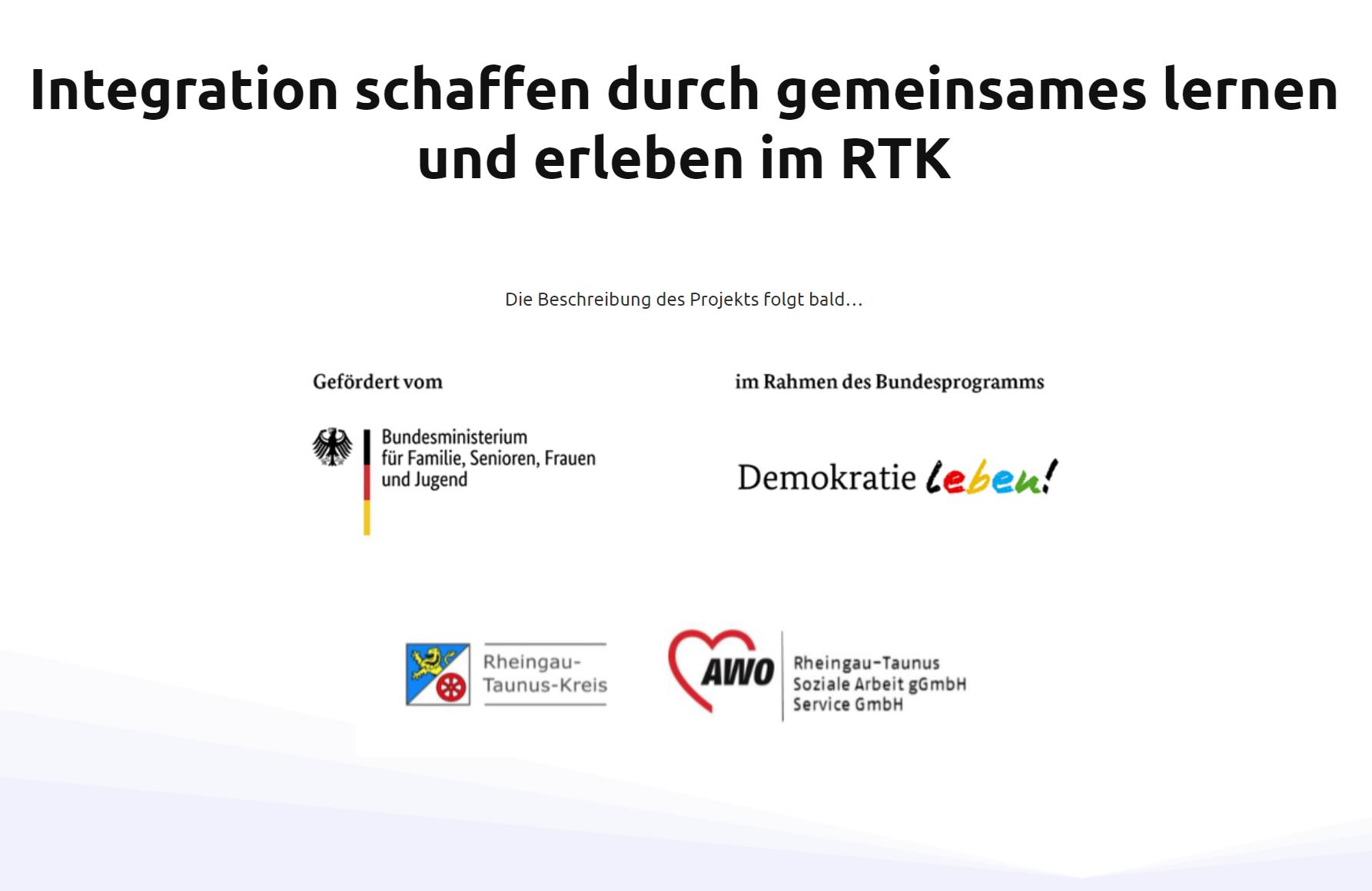 Projekt Integration schaffen durch gemeinsames lernen und erleben im RTK